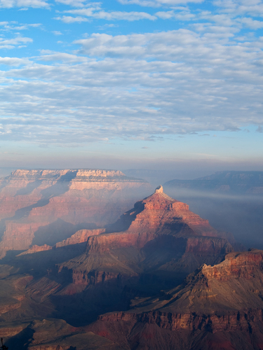 Hazy morning view of the Grand Canyon from Mather Point on the South Rim of the National Park in northern Arizona.