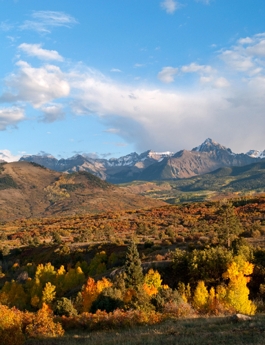 Early evening view in Autumn of Mount Sneffels from the Dallas Divide near Ridgeway in the San Juan Mountains of south western Colorado.