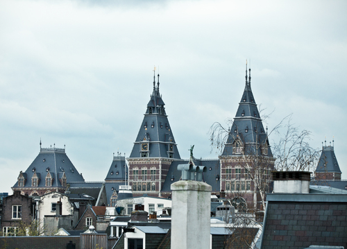 Unique sight of the Rijk Museum in Amsterdam from a private roof terrace.
