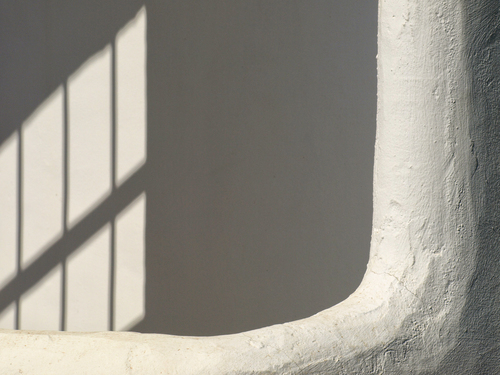 White on white. White washed walls with shadows