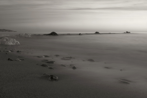 Long exposure at the beach in b/w - shot at New Year