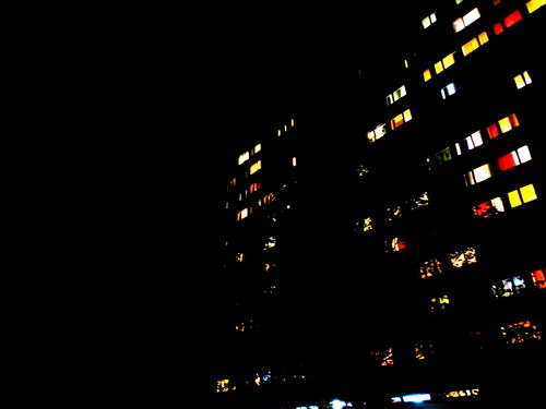 Lights on a block of flats at night, near the Eschenbrau