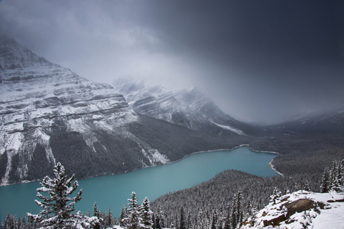 Peyto Lake is a glacier-fed lake located in Banff National Park in the Canadian Rockies. It was named for Bill Peyto, an early trail guide and trapper in the Banff area. This photo was taken in early October after the first snowfall of Winter.