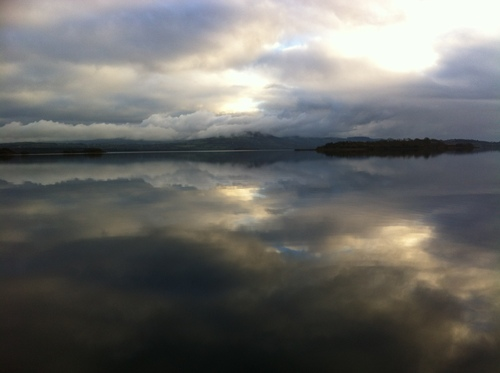 Glass lake image November evening Mountshannon Harbour