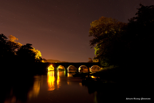 Castle bridge at night.