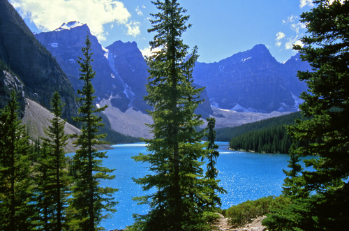 Afternoon view of the turquoise waters of Moraine Lake in the valley of ten peaks in Alberta's Banff National Park.