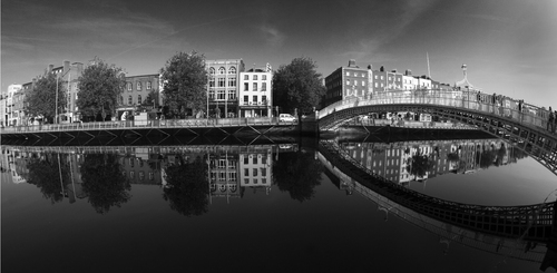 A fisheye view of the Ha'penny Bridge in Dublin.