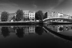 A fisheye view of the Ha'penny Bridge in Dublin.