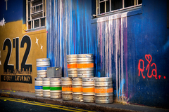Coloured casks and wall of Dublin.