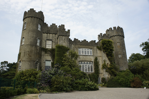 Front view of the ancient Malahide Castle, Dublin which is open to the public in summer 2013