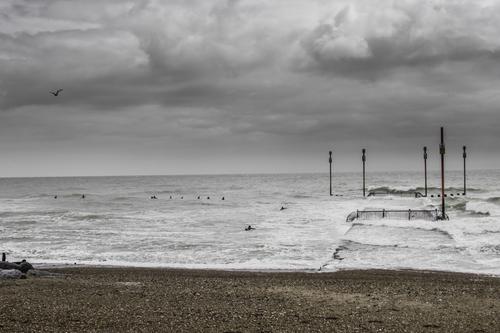 Surfers out at Shoreham