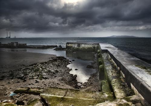 Forlorn remains of Blackrock Baths, Dublin, Ireland