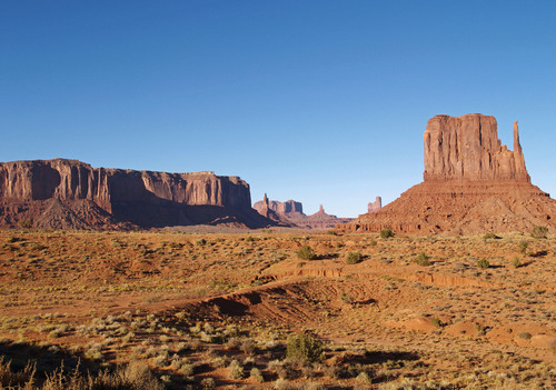 Late afternoon view towards the left Mitten at the Monument Valley Tribal Park on the Arizona and Utah border.