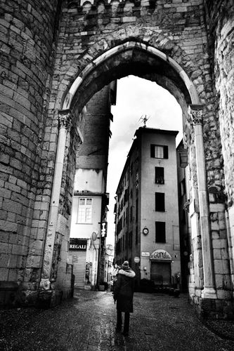 Genoa, Porta Soprana on a cold winter afternoon