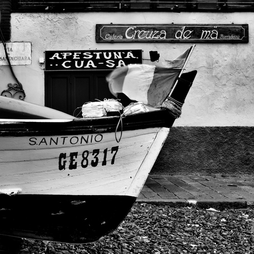 Fisherman's boat on the beach in the little hamlet of Boccadasse, Genoa