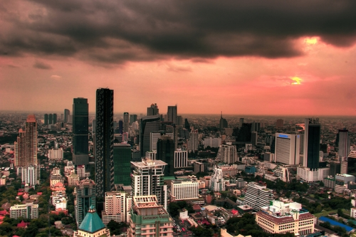 From a skyscraper at sunset in Bangkok