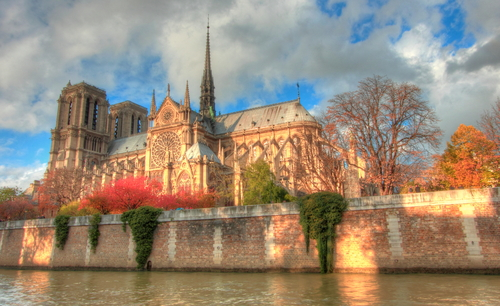 Notre Dame Cathedral across the River Seine in Paris