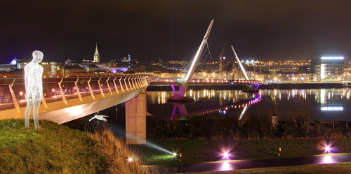Peace Bridge from Ebrington Square on Waterside to the Cityside during Lumiere