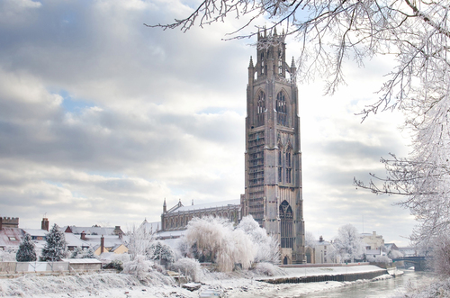 "A wintry scene of ""Boston Stump"""