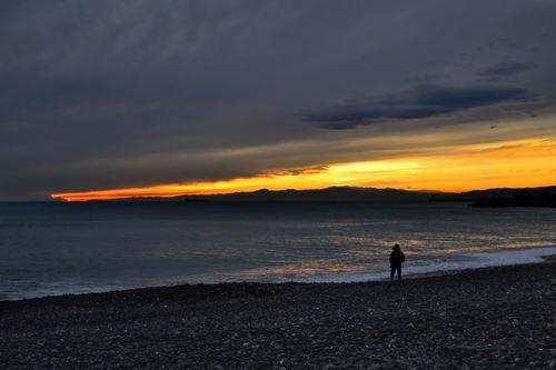 Sunset from a beach near Corso Italia, Genoa.