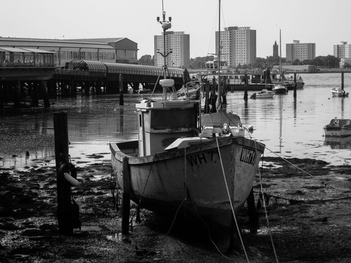 A picture of a marooned boat in Portsmouth Harbor