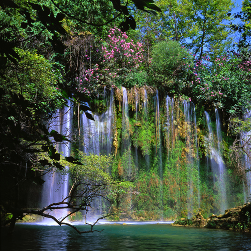 Summer view of the beautiful Kursunlu falls near Antalya in Southern Turkey.