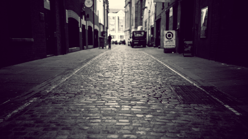 Road view of Belfast's cobbled streets