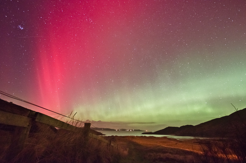The northern lights aurora over Dunree, Inishowen, Co.Donegal