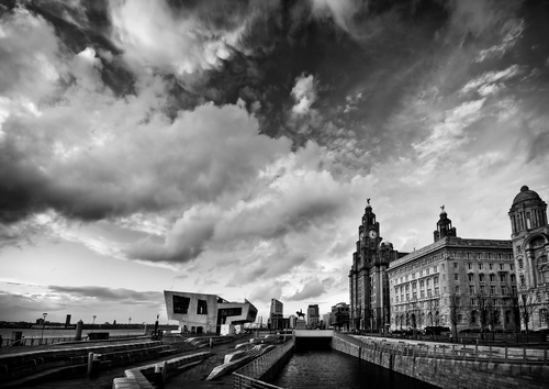 The Ferry terminal, Liver Building and Cunard Building on the Liverpool waterfront