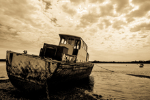 Abandoned fishing boat at Dundrum Co. Down.