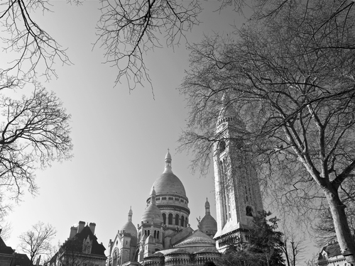 Spring view through the trees to the Sacre Coeur in Montmartre, Paris.