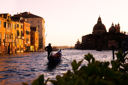 Gondolier At Dawn On The Grande Canal Venice