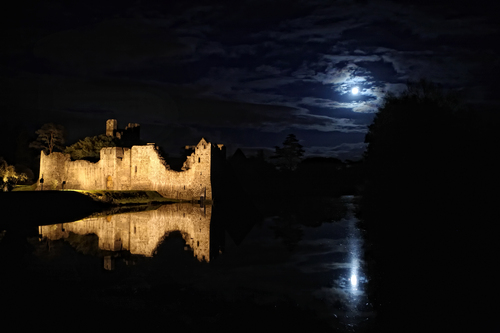 Franciscan Friary along the Maigue River in Adare Co. Limerick on a harvest moon evening