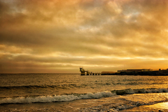 Sunset over the Blackrock Diving board, Salthill. Galway