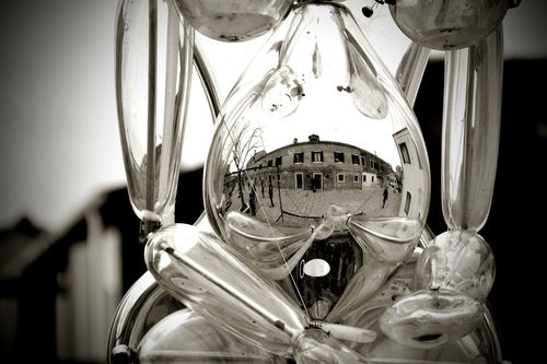 Reflection in a glass statue in Murano, Venice.