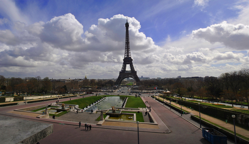 Wide angle photo of the Eiffel Tower taken in the morning of an early spring day in 2010