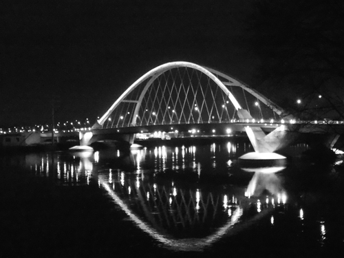 Lowry Avenue Bridge reflected in the waters of the Mississippi River