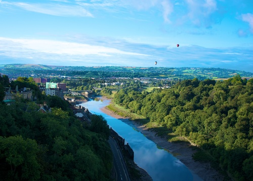 The International Balloon Fiesta as the sun rises over Bristol
