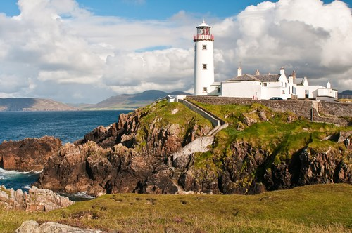 Fanad Head Lighthouse sits on the Fanad peninsula in north Donegal.  It is a wild and rugged landscape which is lashed by the Atlantic Ocean.