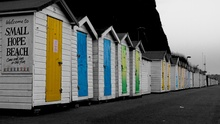 Old beach huts in the cold season, waiting to be called upon for another Summer