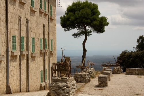 At the top of a mountain which overlooks the island you will find a monastery