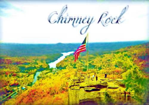An air brushed painting of Chimney Rock Overlook in North Carolina, US