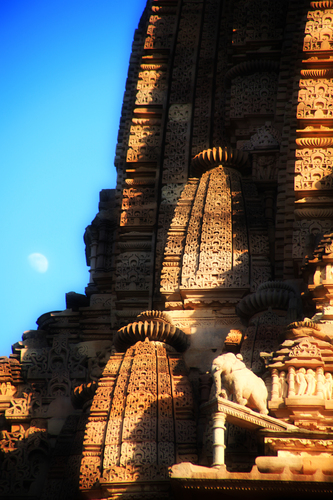 One of most famous places in India, Khajuraho temples, at dusk.