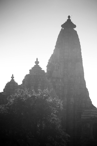Famous Khajuraho Temples in the evening light.