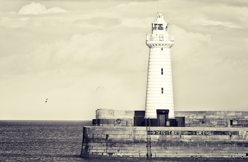 The lighthouse on the harbour wall in Donaghadee in North Down.