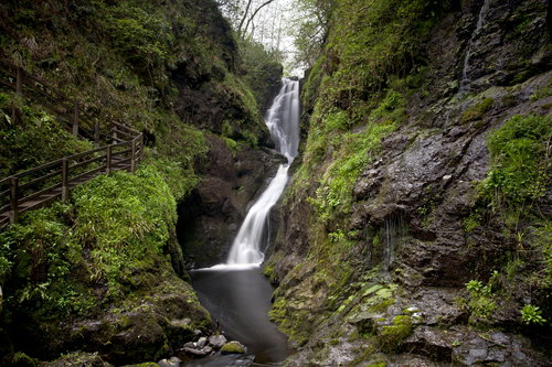 The waterfall in Glenariff Country Park off the Antrim Coast.