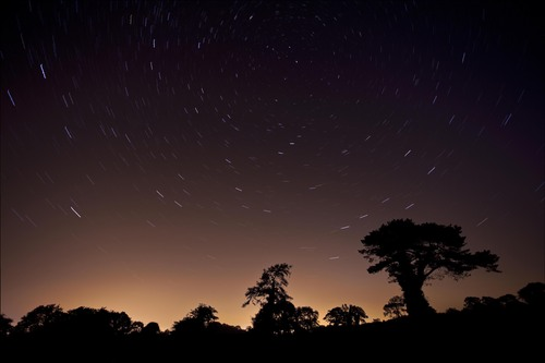 September sky pinwheeling over the County Antrim country side in Northern Ireland.