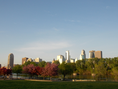 The Mississippi River & Minneapolis Skyline.