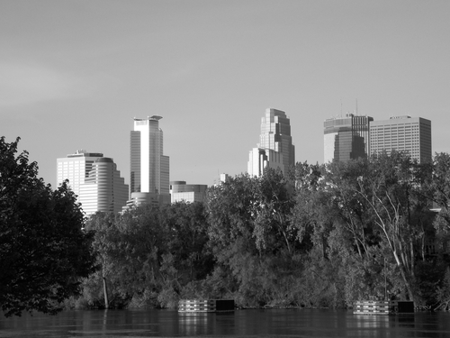 The Minneapolis skyline shining in the morning sun