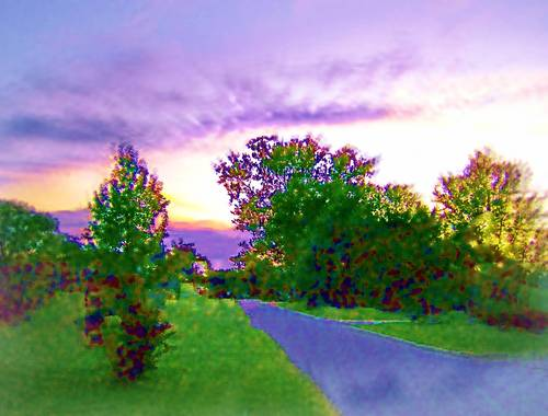 This landscape photography has been digitally enhanced with lavender hue skies and altered with shadows for this unique image
